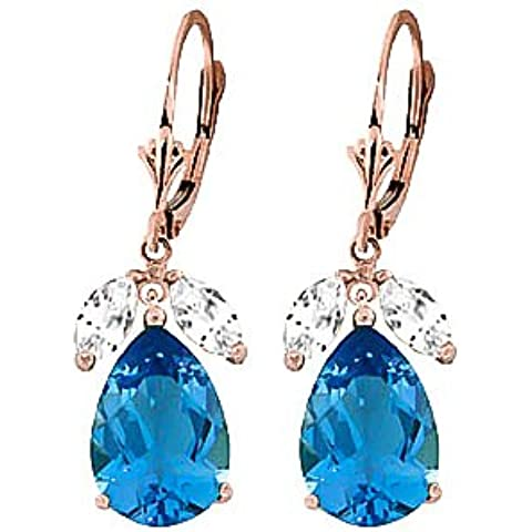 QP Jewellers Natural White & Blue Topaz Orecchini in oro rosa 9 kt, taglio a pera, 13,0ct 2527R - Topaz Gemstone Genuine