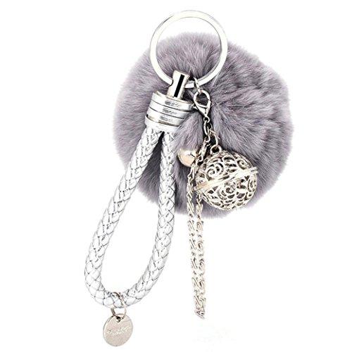 ZARU Pelz-Ball-Handy-Auto Keychain, hängender Handtaschen-Charme-Schlüsselring (Grau) (Handy-charme-pelz-ball)