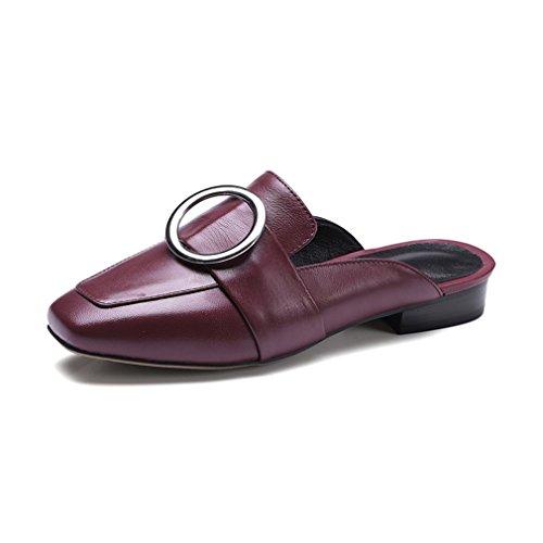 Tacchi Solidi Vino Quadrata Australiani Agnello Primavera Donne Di Punta Rosso Pelle Spessi Pantofole Casual Autunno Enmayer YY0T6qz