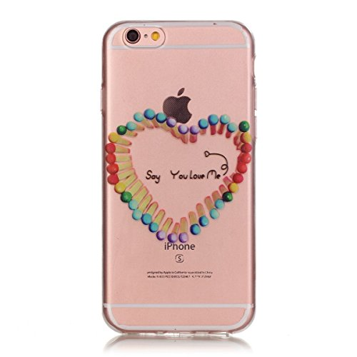 SainCat Coque Housse pour Apple iPhone 6s,Transparent Coque Silicone Etui Housse,iPhone 6 Silicone Case Soft Gel Cover Anti-Scratch Transparent Case TPU Cover,Fonction Support Protection Complète Magn amour matchs