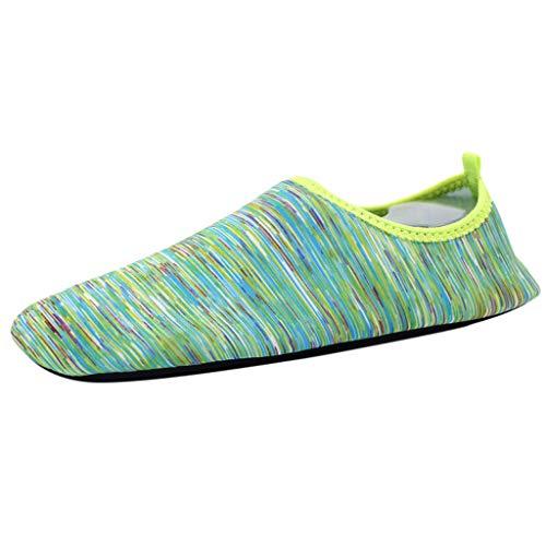 Xmiral Wasserschuhe Paare Gummisohle Verschleißfest Barfuß Aqua Schuhe Sportschuhe Strandschuhe Schnelltrocknend Tauchschuhe(Grün,45/46 EU)