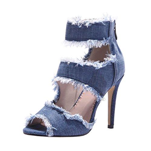 Agodor Damen High Heels Canvas Sommer Stiefeletten mit Hinten Reißverschluss und Stiletto Peep Toe Sandalen Elegante Schuhe - Canvas-high-heel-sandalen