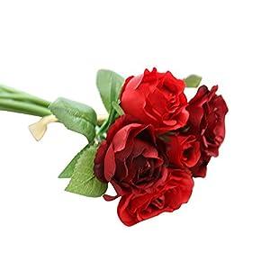 LQQSTORE Künstliche Blumen Für Hochzeits-Bouquets, Zuhause, Hotel, Garten-Deco, Veranstaltungen, Weihnachten Kunstblumenstrauß Mit Künstlichen Rosen Wohnaccessoires & Deko (Rot)