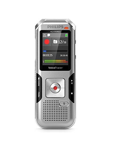 Philips DVT4010 Digitales Diktiergerät mit automatischer Mikrofonanpassung, Metallgehäuse, 8 GB interner Speicher, Micro-USB-Anschluss, Li-Polymer-Akku, MP3, Plug and Play, Win/Mac/Linux, Silber