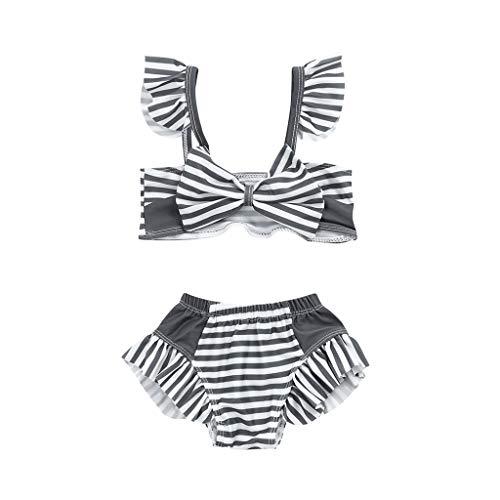 bobo4818 Kleinkind Kinder MäDchen Bademode Gestreifte Riemen Badeanzug Bade Bikini Set FüR 0,5-5 Jahre (Weiß, 4-5 Years)