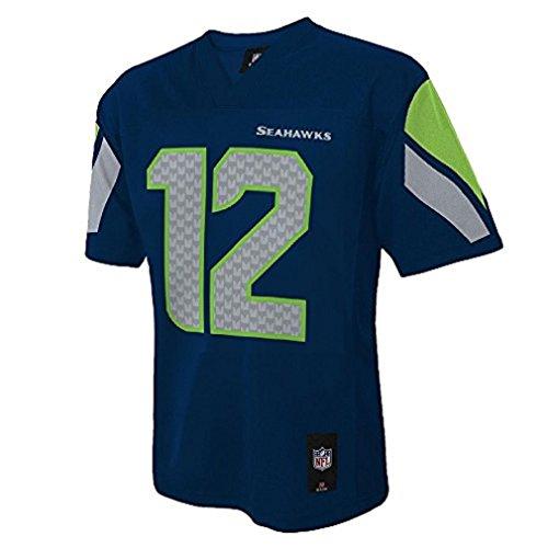 Outerstuff 12th Fan Seattle Seahawks #12 Man Navy Blue NFL Youth 2016-17 Season Jersey (Small 8)