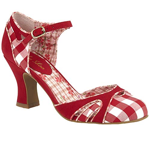 Ruby Shoo Damen Schuhe Jeraldine Vintage Gingham Retro Pumps Rot Riemchen Pumps 39 Rockabilly Gingham