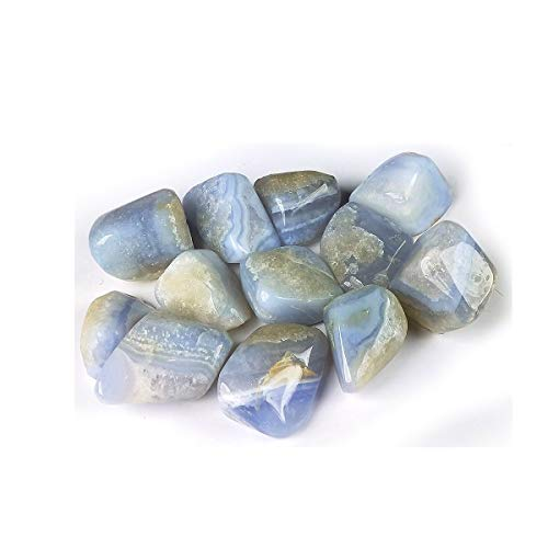 Reiki Crystal Products Natural Blue Lace Agate Tumble Stones for Reiki Healing and Vastu Correction Protection Concentration Spirituality and Increasing Creativity Tumble Stones