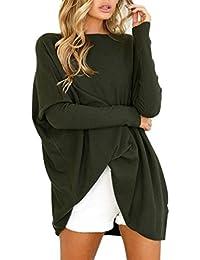 Reaso Femmes Chandail Robe Elegant Pull Manche Longue Loose Sweater Col  Rond Tunique Oversize Tricot Chemisier Mode Chaud Hiver… 9f66688883e9