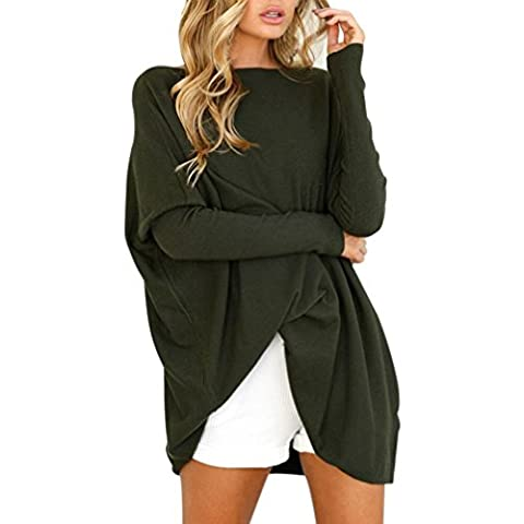 Reaso Femmes Chandail Robe Elegant Pull Manche longue Loose Sweater Col Rond Tunique Oversize Tricot Chemisier Mode Chaud Hiver Casual Automne Tissu Tops (M, Armée verte)