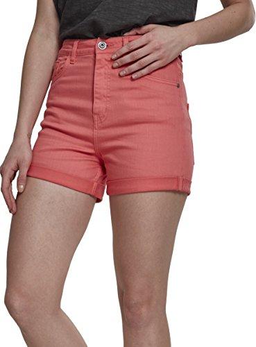 Cargo-jersey-shorts (Urban Classics Damen Ladies Highwaist Stretch Twill Shorts, Rosa (Coral 00092), 38 (Herstellergröße: 28))