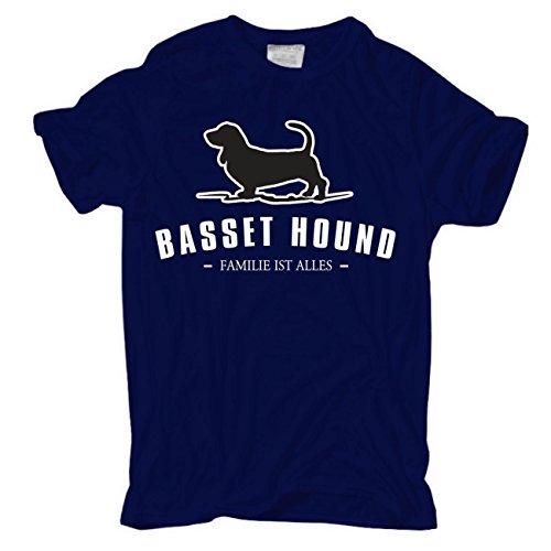 Männer und Herren T-Shirt Bassett Hound - Familie ist alles körperbetont dunkelblau