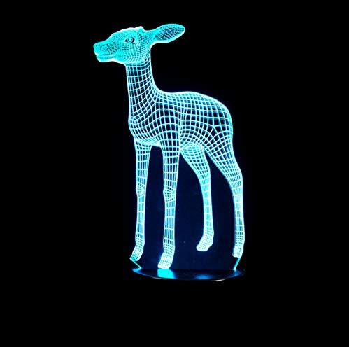7 colori che cambiano piccola modellazione creativa dei cervi 3D piccola luce di notte che decora l'illuminazione di sonno della stanza come lampada da tavolo di festa dei bambini