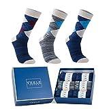 Vkele 6 Paar Fein Karierte Gemusterte Socken, Bunt Socken, Ideal als Geschenk, Baumwolle, Karo Socken, Gr. 43-46 43 44 45 46, Weihnachtsgeschenk