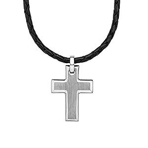 S.Oliver Herren Kette Männerkette mit Kreuz-Anhänger matt Edelstahl Leder geflochten 47+3 cm schwarz