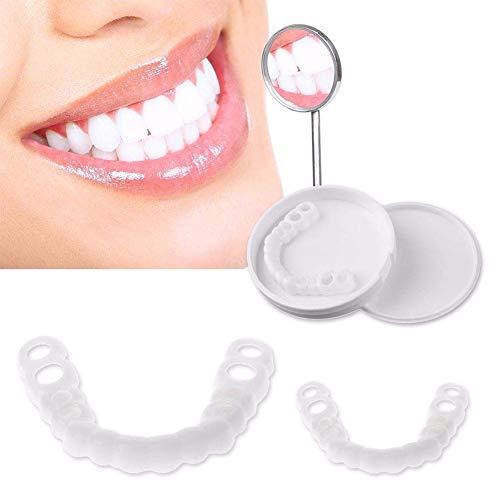 HUAJIE Provisorischer Zahnprothese Veneer Whitening Prothese Perfekte Smile Veneers Komfort Zehne Kosmetikfurnier Sofortiges Lacheln Wiederverwendbares Eine Gresse Passt Allen(Weiß)