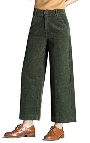 Gihuo Damen Retro-Hose, Weite Beine, aus Cord, mit Taschen - Grün - Mittel Wide Leg Cord Pant