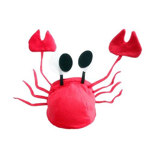 Jiamins Krabbe Hut - Niedlicher Erwachsenes 3D Roter Krabbe Weihnachtsmütze, Weihnachten Deko Party Kostüm
