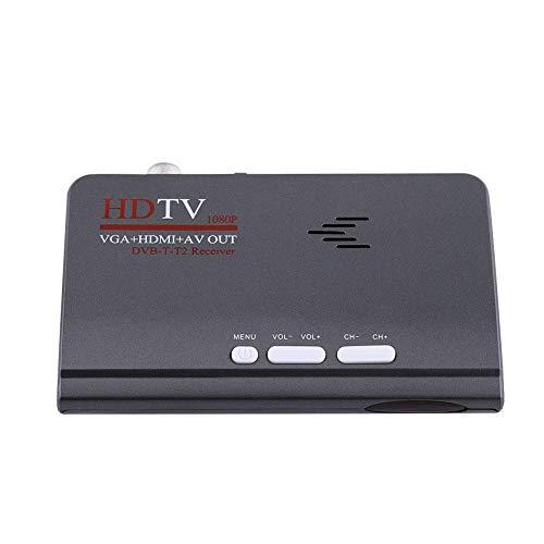 DVB-T2 HD Receiver,Digital 1080P HD VGA HDMI AV DVB-T2 TV Box Receiver Konverter Adapter,Tragbar DVB-T2 Receiver TV Box mit Fernbedienung/VGA-Anschluss EU Stecker 1080p Av-receiver
