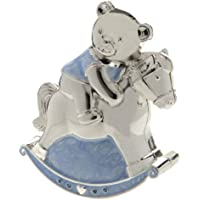 Christening Gift Silver Plated Blue Enamelled Rocking Horse With Teddy Money Box