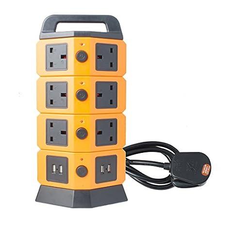 sourcingmap® AC 110V-250V 10 ROYAUME-UNI Douille 4 chargeur USB Commuté Tower Sortie Vertical multiprise Orange