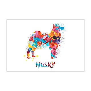 ArtsyCanvas Husky Watercolor Splatter Art (Poster), 36 x 24