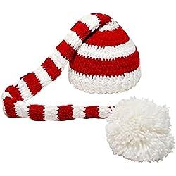 Sombrero - TOOGOO(R)Sombrero de Navidad de punto de ganchillo de foto de bebe de color blanco y rojo
