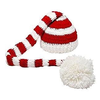 Sombrero – TOOGOO(R)Sombrero de Navidad de punto de ganchillo de foto de bebe de color blanco y rojo