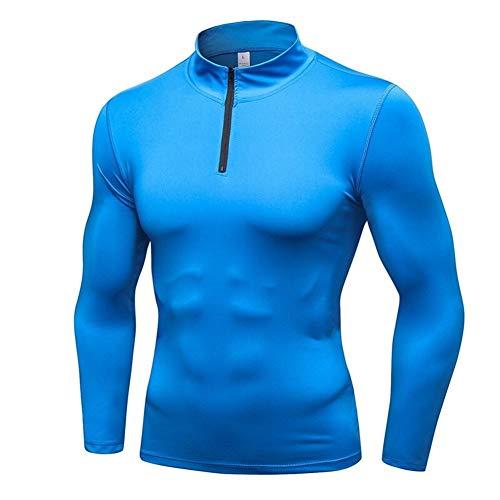 QWERBAN Thermo-Unterwäsche Halb Zipper Maennerschlafanzuege Stehkragen Kompressions Unterwäsche Herren Blusen Thermos (Color : Blue, Size : XXL)
