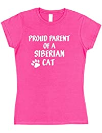 Click My Clobber Womens, T-Shirt, Proud Parent Of A Siberian Cat Great Christmas Gift Idea For Cat Lover,