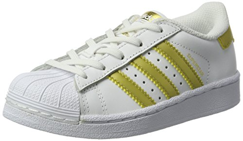 Adidas originals superstar bb2872, sneakers unisex - bambini, bianco (footwear white/gold metallic/gold metallic), 29 eu