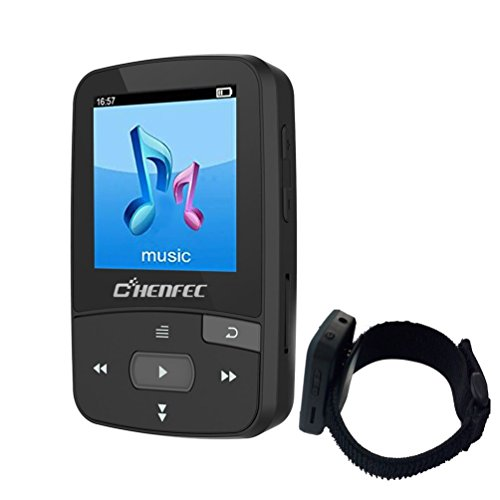 chenfec MP3 Player Bluetooth 8 GB Mini Clip MP3-Player mit Sport Music Player Wiedergabe (unterstützt bis zu 64 GB) mit Armband Sport Running schwarz