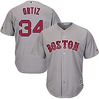 YQSB Personalizada Camiseta Deportiva Baseball Jersey Liga de béisbol # 34 Ortiz Boston Red Sox,Gray,Men-L