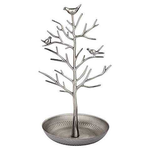 Discoball - Jewellery Display/Stand/Holder - New Antique Silver Bronze Birds Tree Earring Necklace Bracelets Jewelry (Hanging Rack)
