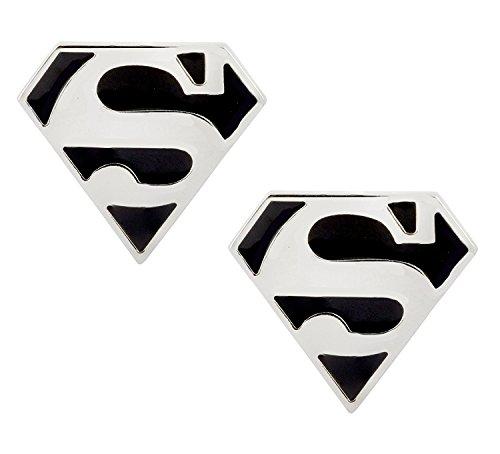 Die Jewelbox glänzend Superman Logo schwarz Emaille Silber rhodiniert Messing Manschettenknöpfe Paar für Herren