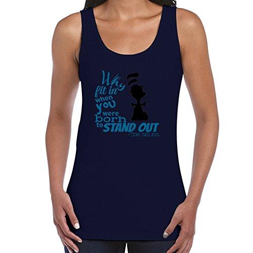 stylingclothing Frauen Dr. Seuss Zitat T-Shirt (Größe, Farbe), damen, navy