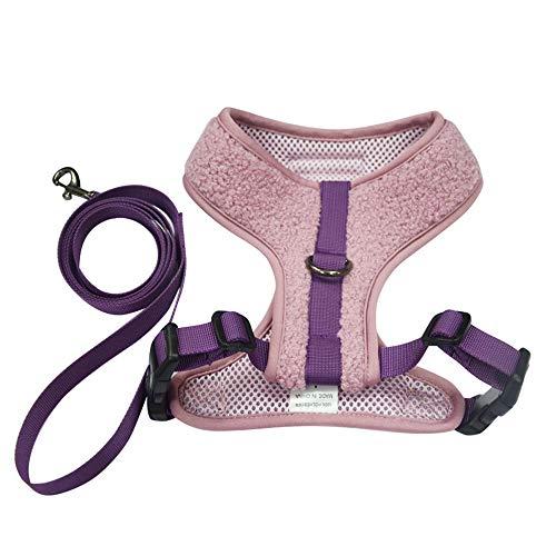 BLEVET Soft Adjustable Gepolsterter Hundegeschirr Brustgeschirre für Kleinen Hund oder Katze MZ092 (S, Purple)