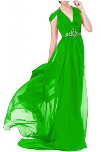 """Toscana sposa general-case""""sassi Chiffon V-taglio un'ampia abiti da sera lungo Party ball vestimento Verde"""