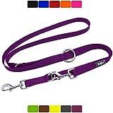 DDOXX Hundeleine Nylon, 3fach verstellbar | viele Farben & Größen | für kleine & große Hunde | Doppel-Leine Hund Katze Welpe | Schlepp-Leine groß | Führ-Leine klein | Lauf-Leine | M, Lila, 2m