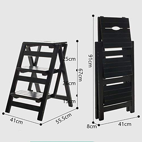 DEED Kreative Schuhe Hocker-Schritt Hocker 3-Tier Holz Klappstuhl Mobile Ascending Ladder Regal Blume Stand Bartheke, Home Hocker,Schwarz - 3-tier-ladder Regale