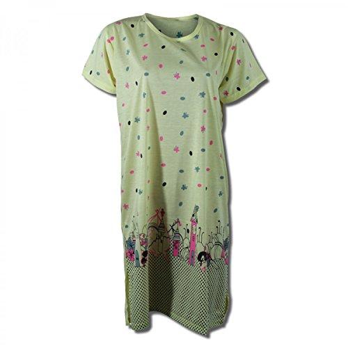 Lavazio Chemise de nuit pour femme à manches courtes à motifs orange/rosa