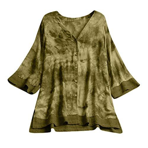 Italienische Damen Langarm (MRULIC Damen Langarm Shirt Beiläufige Lose Baumwolle Frühling Herbst Tops Solide Elegante T-Shirt Freizeithemd(B10-Grün,EU-42/CN-XL))