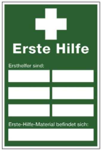Schild PVC Erste Hilfe Ersthelferaushang 300x200mm