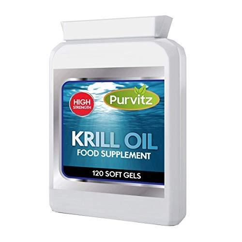 Purvitz Superba Krill Öl 1000 MG Potenz Antarktisch Kaltgepresst 100% Antarktisch Softgel 120 Kapseln Flasche 2 Monat Netzteil Höhere Herz Kreislauf Gesundheit Immunsystem Verstärkt (Herz-gesundheit Krill öl)