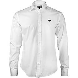 Armani Herren Hemd Slim Fit Business Langarmhemd mit Knopfleiste und Kentkragen - durch den angenehmen Tragekomfort wird ein perfekter und lockerer Auftritt ganz einfach