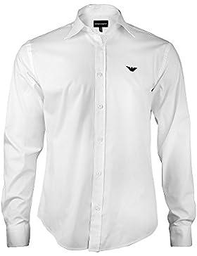 Armani–Camicia da uomo, Slim Fit Business, a maniche lunghe con bottoni e colletto all'italiana–dona il massimo...