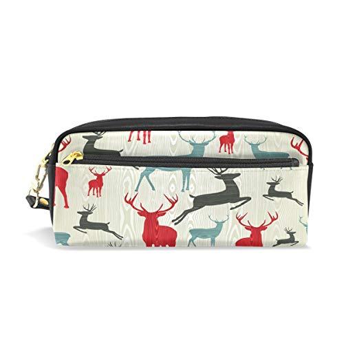 eihnachtlichem Hirsch-Muster, bedruckt, für Reisen, Make-up, große Kapazität, wasserdicht, Leder, 2 Fächer, ideales Halloween-Geschenk für Kinder Mädchen Jungen ()