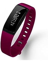 RIVERSONG®Fitness Tracker Monitor de Frecuencia Cardíaca Pulsera Deportiva Pulsera de Presión Arterial Reloj Sedentario Alarma de Control de Sueño SNS Pedal de Recordatorio de Llamada Actividad Deportiva Pulsera Saludable con Pantalla Táctil OLED Smart Watch para Android iOS Smartphones (PURPLE)