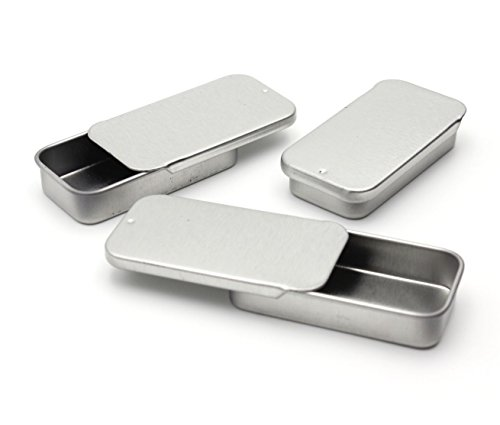Metal Slide Top Tin Containers for Crafts Geocache Storage Survival Kit by MagnaKoys® (6, 1.89 x 0.91 x 0.35) by MagnaKoys®