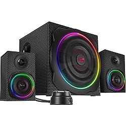 SPEEDLINK Gravity Carbon RGB 2.1 Système D'enceintes pour Caisson de Basses 120 W Peak-Power Connexion Bluetooth avec Smartphone/Tablette Noir